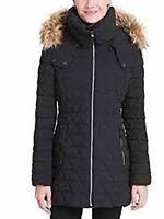 Marc New York Triangle Quilt Coat With Faux Fur Trim