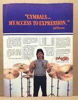 Vintage 1983 Paiste Cymbals Jeff Porcaro Toto Drummer Print Ad 8x11