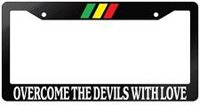Glossy Black License Plate Frame OVERCOME THE DEVILS WITH LOVE Auto Accessory