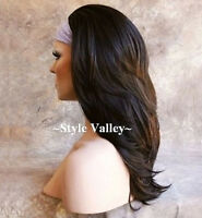 Dark Brown 3/4 Fall Long Hair Piece Half wig cap Wig Straight wavy end Hairpiece