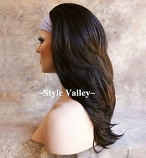 Dark Brown 3/4 Fall Long Hair Piece Half wig cap Wig Straight wavy end Hairpiece