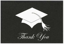 Black White Grad Hat and Tassle Graduation Thank You Notes 24/pk