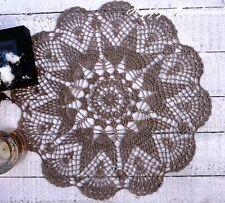 HaHa Large Grey Linen Crochet 41cm (16 inch) Round Doily / wedding / rustic