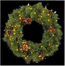 Led Xmas Wreath Christmas Lights 140 Warm White Bulbs In/outdoor Decoration