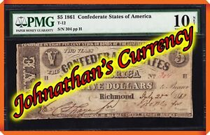 JC&C - T-12 1861 $5 Confederate States of America - Very Good 10 NET by PMG.