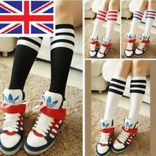 "GIRLS BOYS FOOTBALL SCHOOL TENNIS GYM SPORT KNEE HIGH STRIPED SOCKS ""UK"""