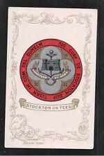 Stockton on Tees Coat of Arms 1900's Heraldic Series Postcard ~ Co Durham