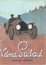 PUBBLICITA' 1911 VELMA SUCHARD CIOCCOLATO FONDENTE CHOCOLAT AUTO OLD CAR PILOTA