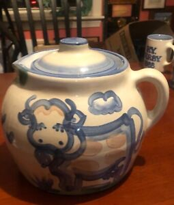 M.A Hadley Studio Art Pottery 3 Quart Bean Pot Lid Pitcher Signed Pig Cow NICE!