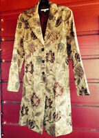 90s Boho Hippy Gypsy Gold Paisley Brocade Lightweight Tapestry Coat Womens M