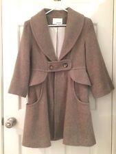 Anthropologie coat jacket Ensemble beige camel wool blend XS nipped peplum waist