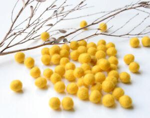 1cm MUSTARD YELLOW Felt Balls x50.Wool.Party Decor.Pom poms.Felt Ball.Wholesale.