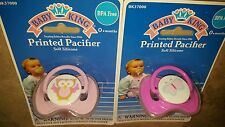 New 2 BABY KING 0+ Soft Silicone Pacifier, BPA FREE, lot of 2, FREE COVERS