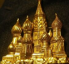 Vintage Gold Architectural Saint Basil's RUSSIA BIG BROOCH 6.5cm-NZ Old Estate