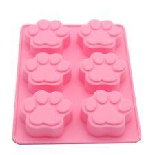 Pata de 6 Base de Silicona Chocolate Galleta Molde hornear pastel de gelatina Cubo de hielo Gato Perro
