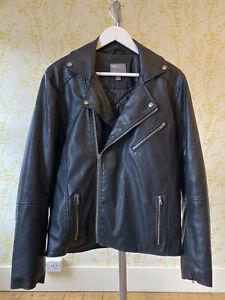 ASOS mens black faux leather padded biker jacket S zip cuffs & pockets WORN ONCE