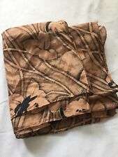 Scarf Copper Orange Black Floral Silk Square Lily Exotic Flowers