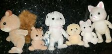 Vtg Calico Critters Epoch Sylvanian Cat, dog, Squirrel Family Lot Of 6 W/Babys