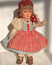 Vintage 9� Lenci Style Cloth Doll Peasant Girl Leather Shoes Pinafore c1940s