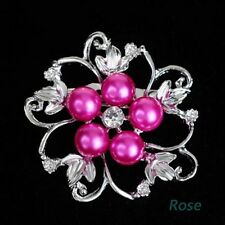 New Flower Pearl Fashion Pin Wedding Vintage Bridal Crystal Brooch Rhinestone