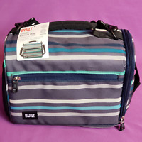 BUILT Insulated Cargo Lunch Bag Tote with Shoulder Strap Blue Gray White Striped