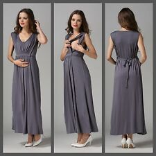 SALE! NEW GREY MATERNITY BREASTFEEDING NURSING MAXI DRESS JILBAB SIZE 8 10 12 14