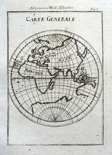 Il mondo, Martello Emisfero Orientale Originale Antico Mappa 1719