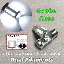 Strobe Rear Turn Signal Light 1157 2057 3496 7528 BAY15D White LED Bulb W1 JAE