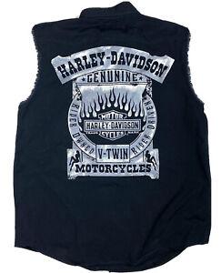 Harley Davidson Motorcycles Mens Black Sleeveless Vest Shirt Size Large