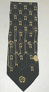 BOXELDER FRANK LLOYD WRIGHT NAVY BIRD IN THE CAGE ITALY SILK MEN'S NECK TIE