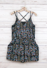 New Xhilaration Sleeveless Short Printed Strappy Romper Black Combo Womens M