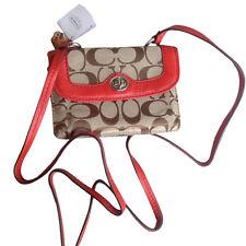 NWT Coach Park Dylan Signature Khaki Vermilion Red Crossbody Swing Bag 49551