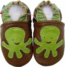 carozoo octopus brown C2 18-24m soft sole leather baby shoes