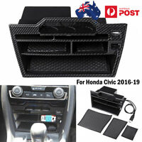 ABS Carbon Fiber Look Double USB Console Central Storage For Honda Civic 2016-19