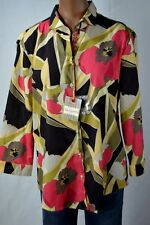 Robert Graham Womens LISA Floral Print Button Down 3/4 Sleeve Shirt size L $228