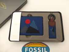 Fossil Card Holder Key Fob Gift Set Miles Navy Choc 2in1 Ring Wallet R