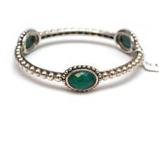 New LAGOS Caviar Silver and Malachite Doublet Bangle Bracelet Medium $595