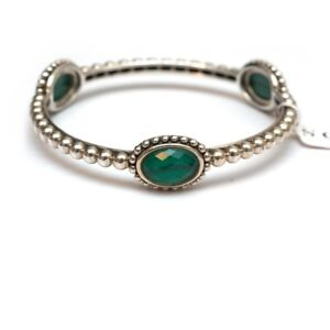 New LAGOS Caviar Silver and Malachite Doublet Bangle Bracelet Medium $595