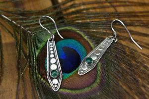 sterling silver green gemstone drop earrings