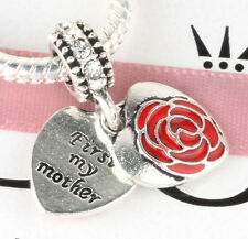 925 Silver first my mother Charm Beads Fit European Charm Bracelet Pendant #E378