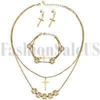 Stainless Steel Women's Lady Cubic Zirconia Cross Earrings Bracelet Necklace Set
