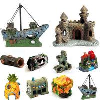 Aquarium Decorations Fish Tank Ornament Retro Tree Cave Ship Wreck Castle Bridge