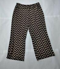 Robert Louis Womens Striped Zig-Zag Wide Leg Stretch Loose Casual Pants Size XL