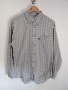 Ellesse Mens Shirt Size M Long Sleeve Button Up Regular Fit Grey Blue Check