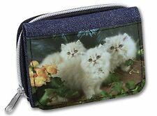 Cream Persian Kittens Girls/Ladies Denim Purse Wallet Christmas Gift Id, AC-25JW