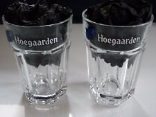 2 NEW HOEGAARDEN GLASSES, 2 BLACK, HALF PINT GLASSES , SUMMER BBQ SEE PHOTOS.