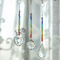 Set 3 Crystal Suncatcher Prisms Hanging Drop Rainbow Maker Garden Home Decor