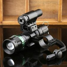 Tactical CREE LED Zoomable Flashlight Torch Red Laser Sight Scope Mount Ring