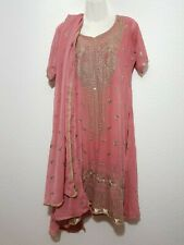 Kamiz Salwar Gr Tunika Hose Tuch 3-tlg Lila Bestickt Orient Indien Kostüm S