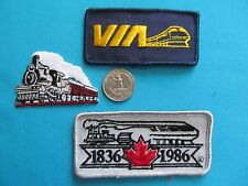 3 LOT TRAIN RAILROAD CANADA QUEBEC VIA CP CN NATIONAL PACIFIC PATCH CREST EMBLEM